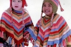 Ponchoes made with dyeing crafts fibres