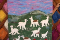 Wet felted wall hanging in yurt